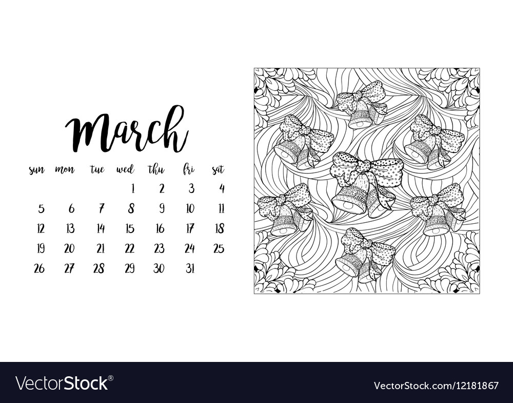 Desk calendar template for month March vector image