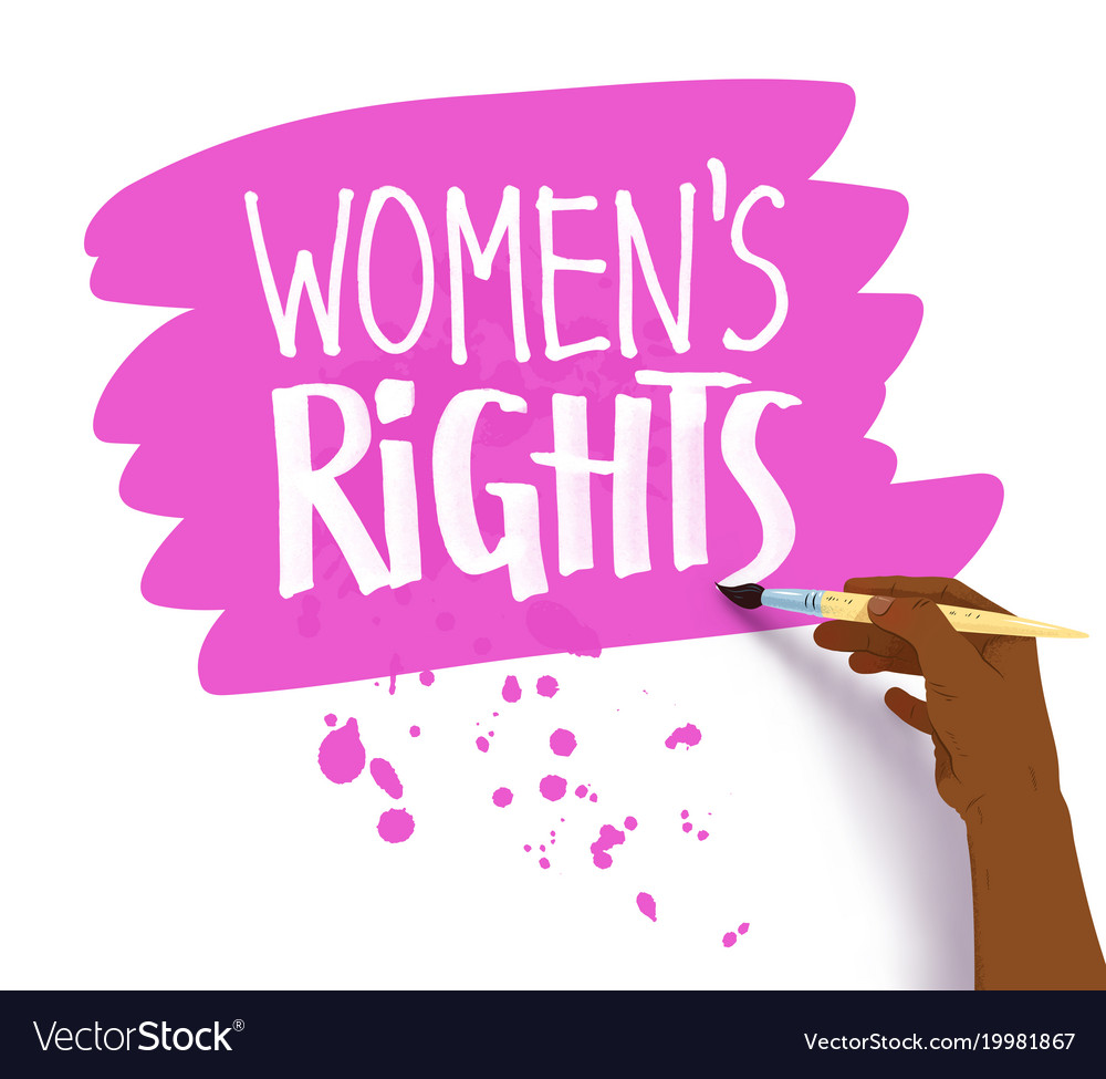 Female hand drawing womens right lettering vector image