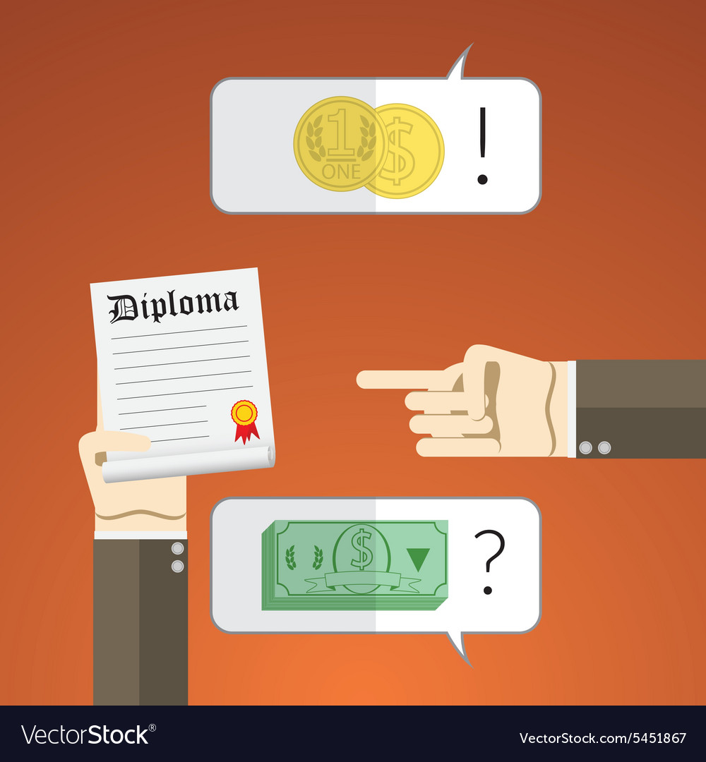 Flat design concept for interview with diploma and vector image