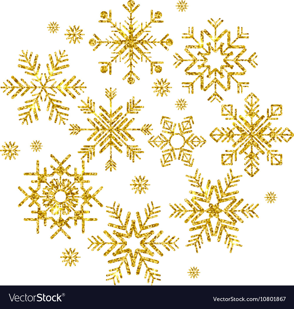 Golden snowflakes set
