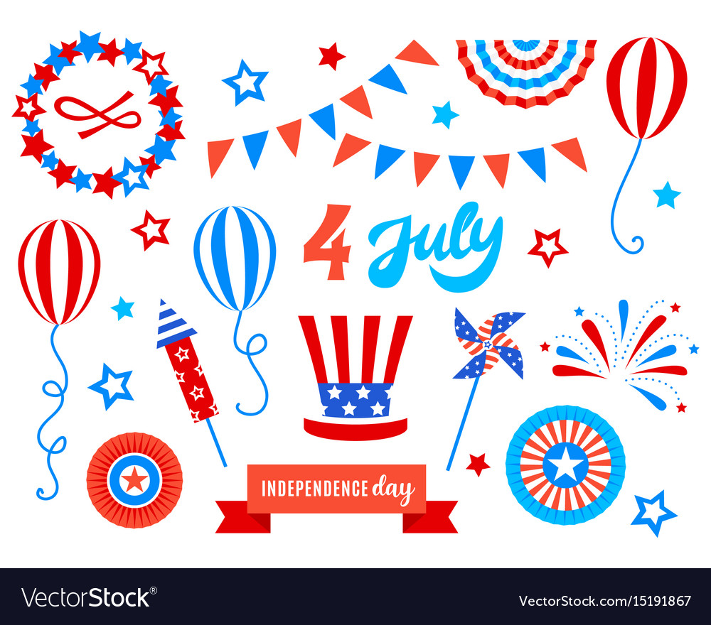 Independence day of america festive doodles set