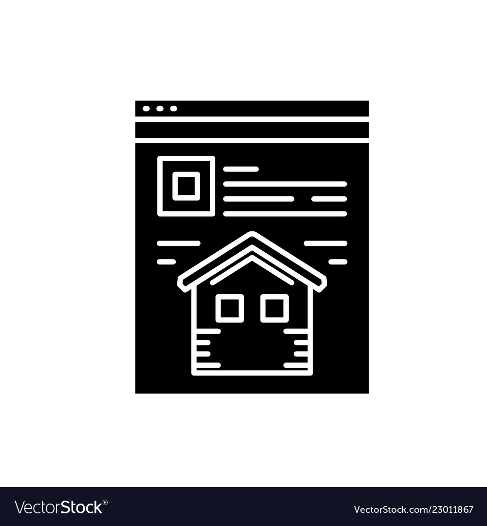Landing page black icon sign on isolated