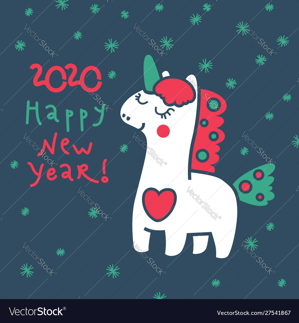Magic unicorn in winter for your design