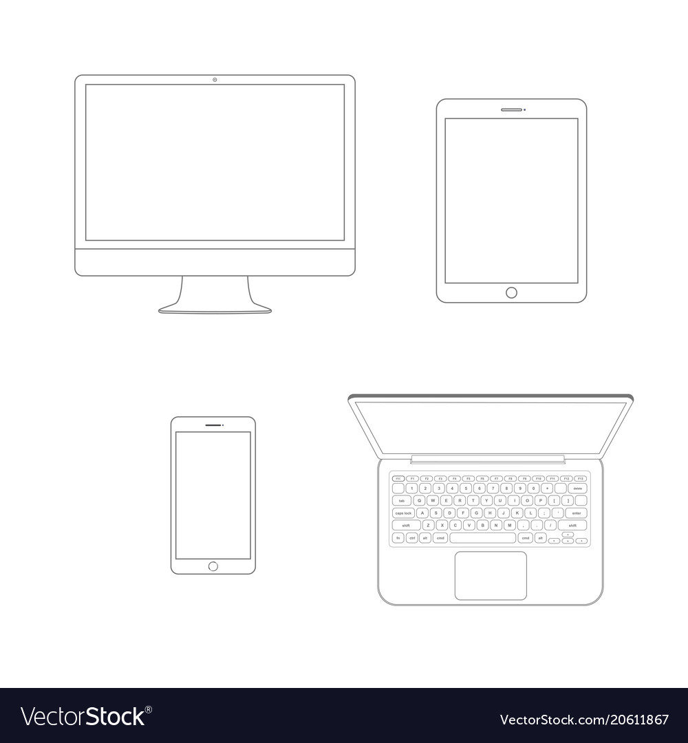 Mockup gadget and device outline icons set on the vector image