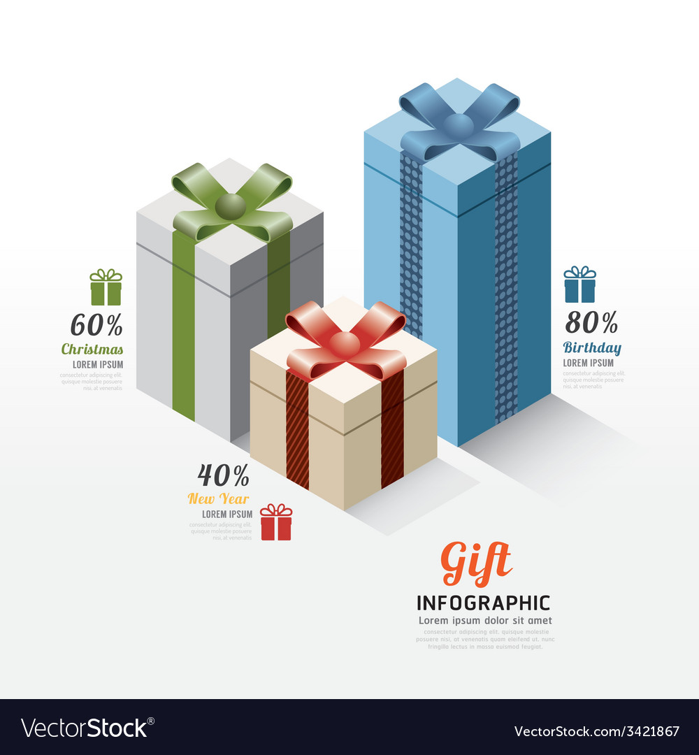 Modern gift box infographics elements Design