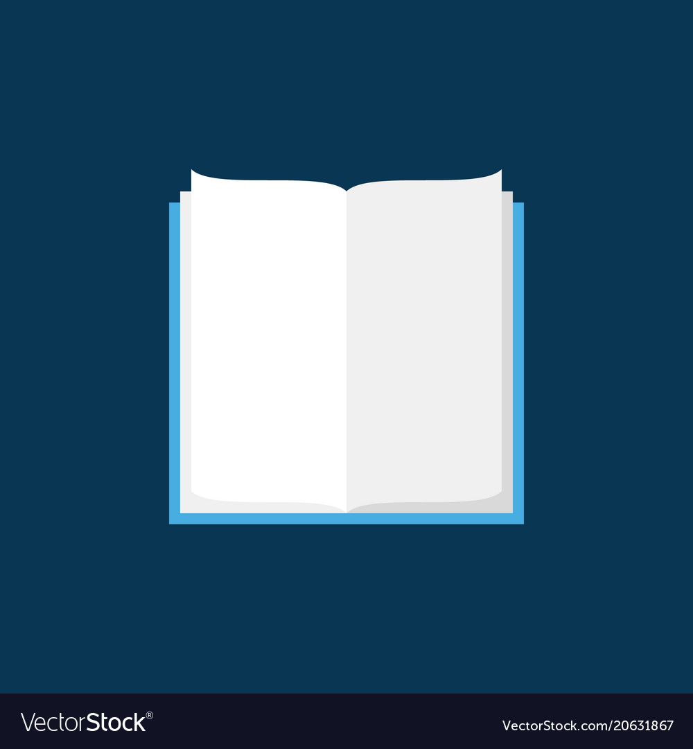 Open book flat icon on blue background