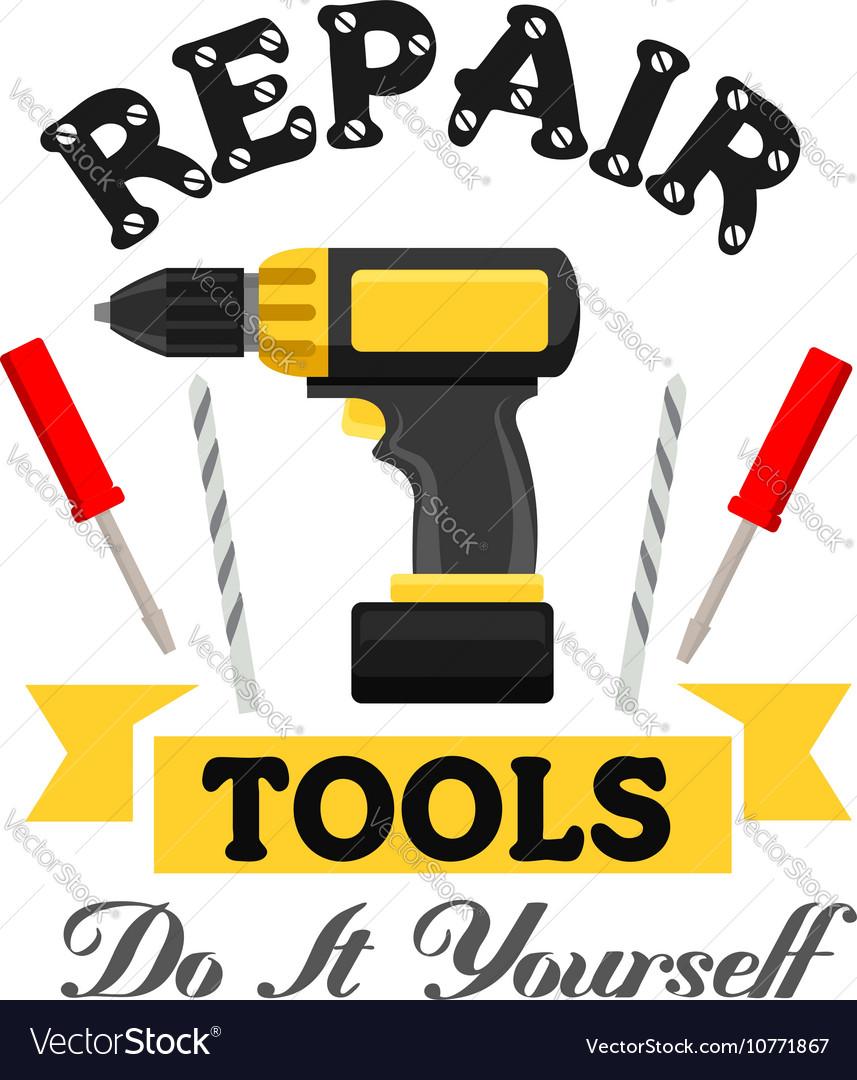 Repair work tools emblem