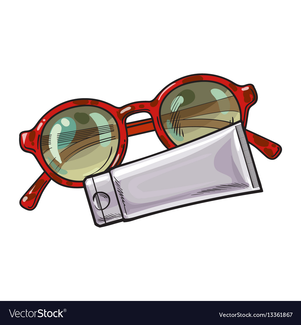 Round sunglasses in plastic frame and sun tan Vector Image