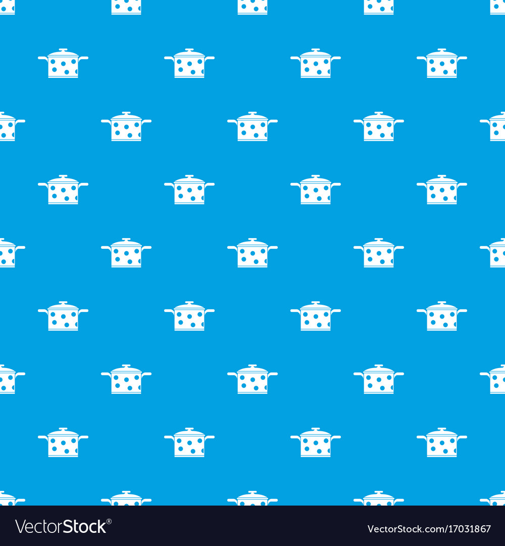 Saucepan with white dots pattern seamless blue
