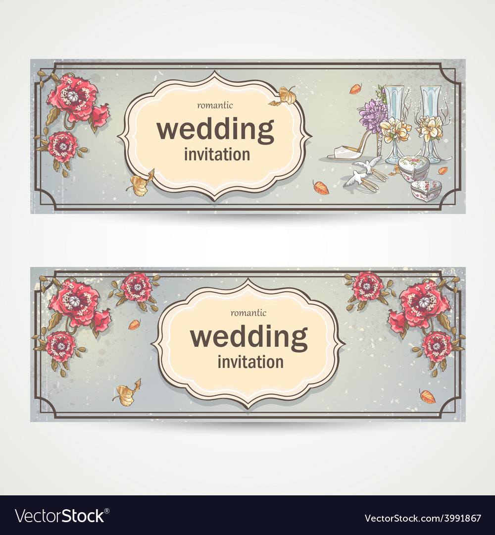 Set of horizontal banners wedding invitations with