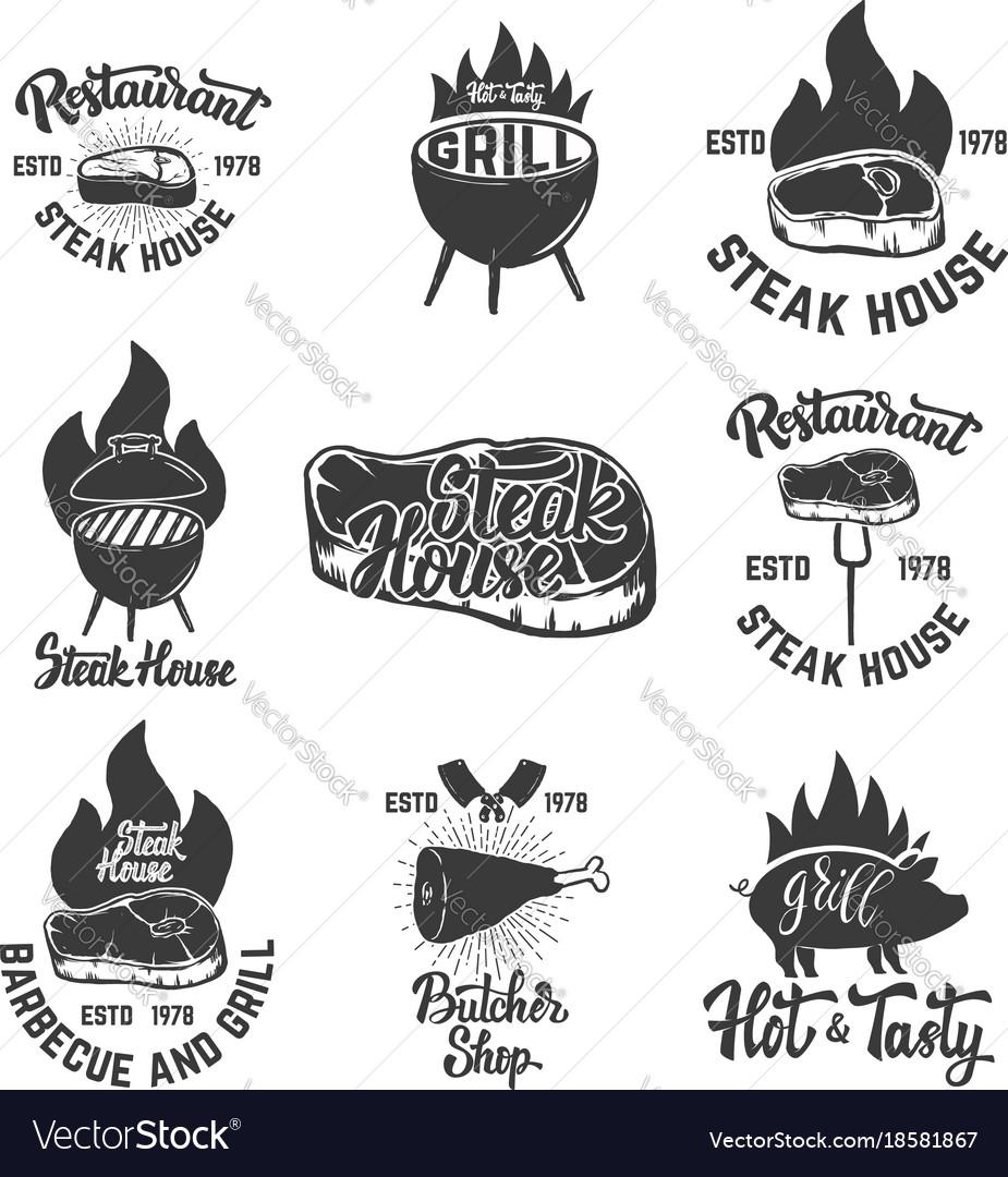 Set of steak house emblems grilled meat
