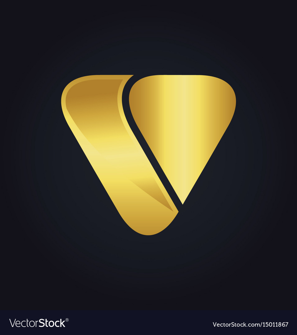 Triangle shape letter v gold logo