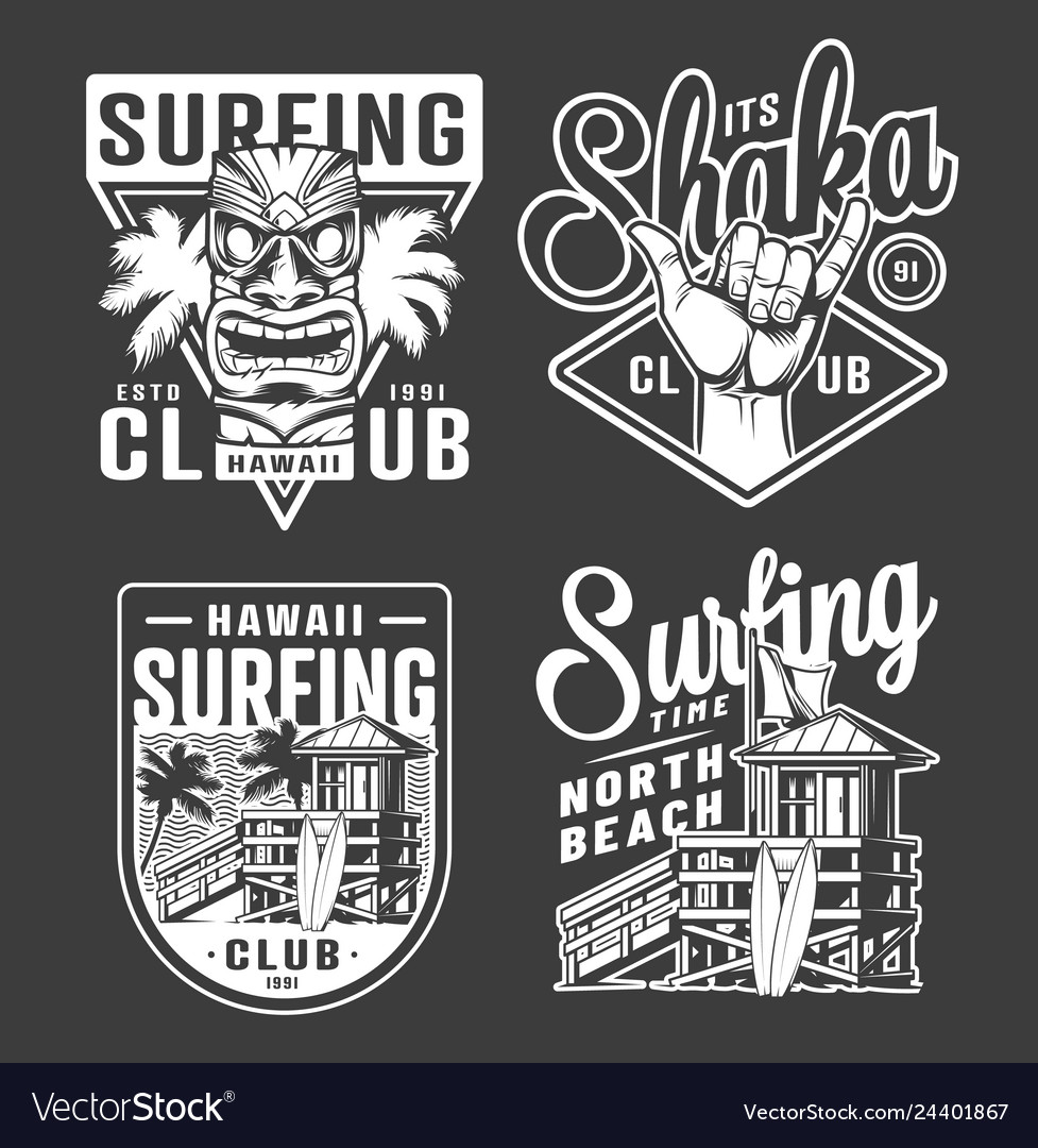 Vintage monochrome surfing club labels