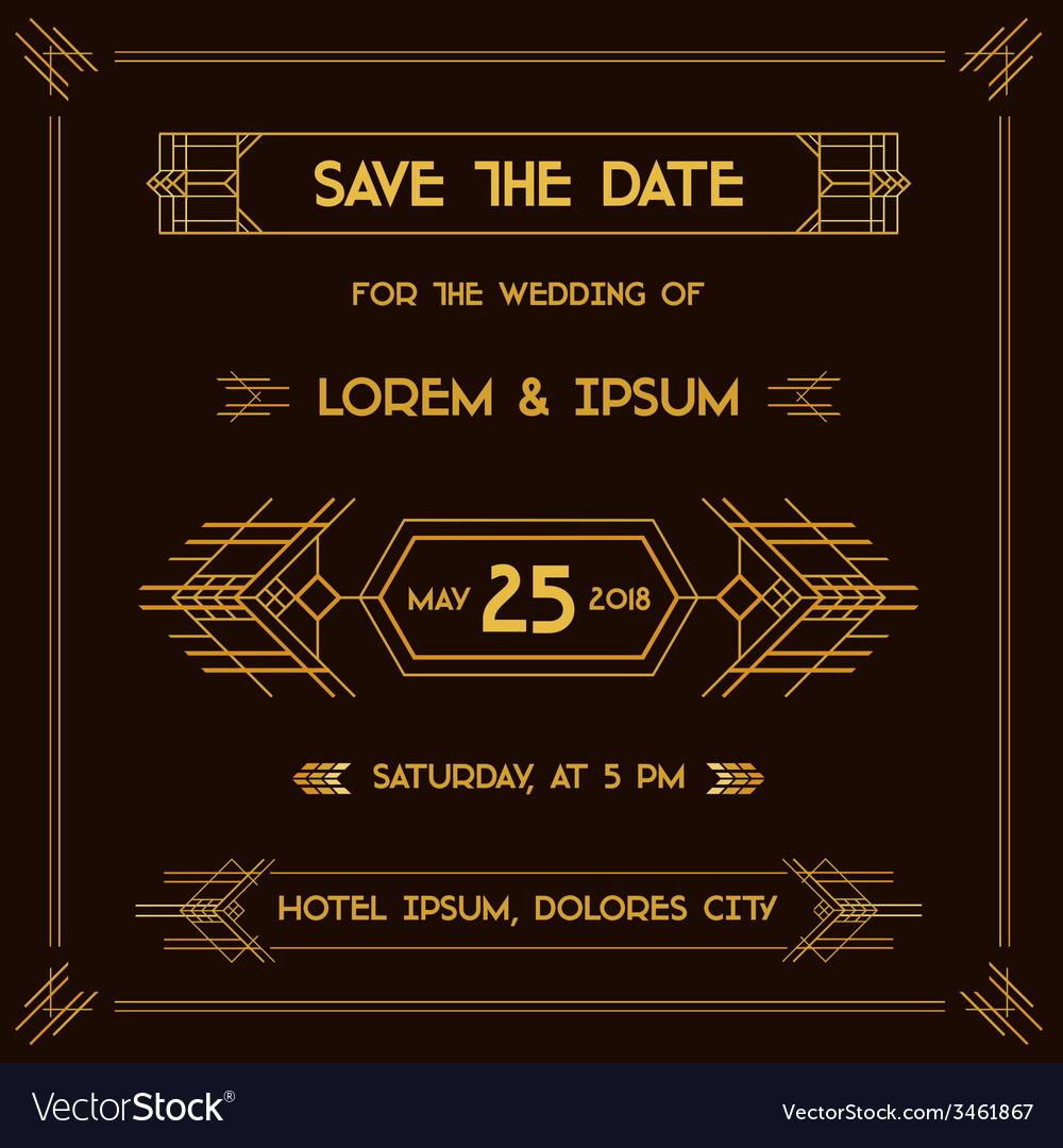 wedding invitation card art deco vintage style vector image
