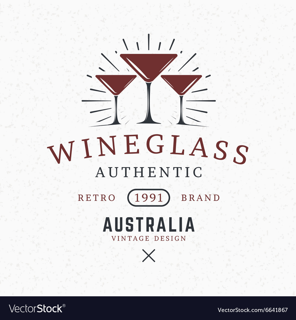 Wine Glasses Vintage Retro Design Elements for