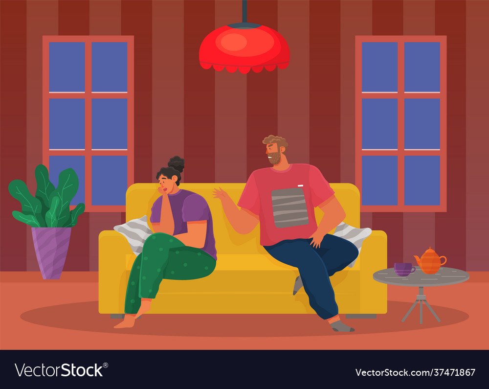 Young people quarreling at home man and woman