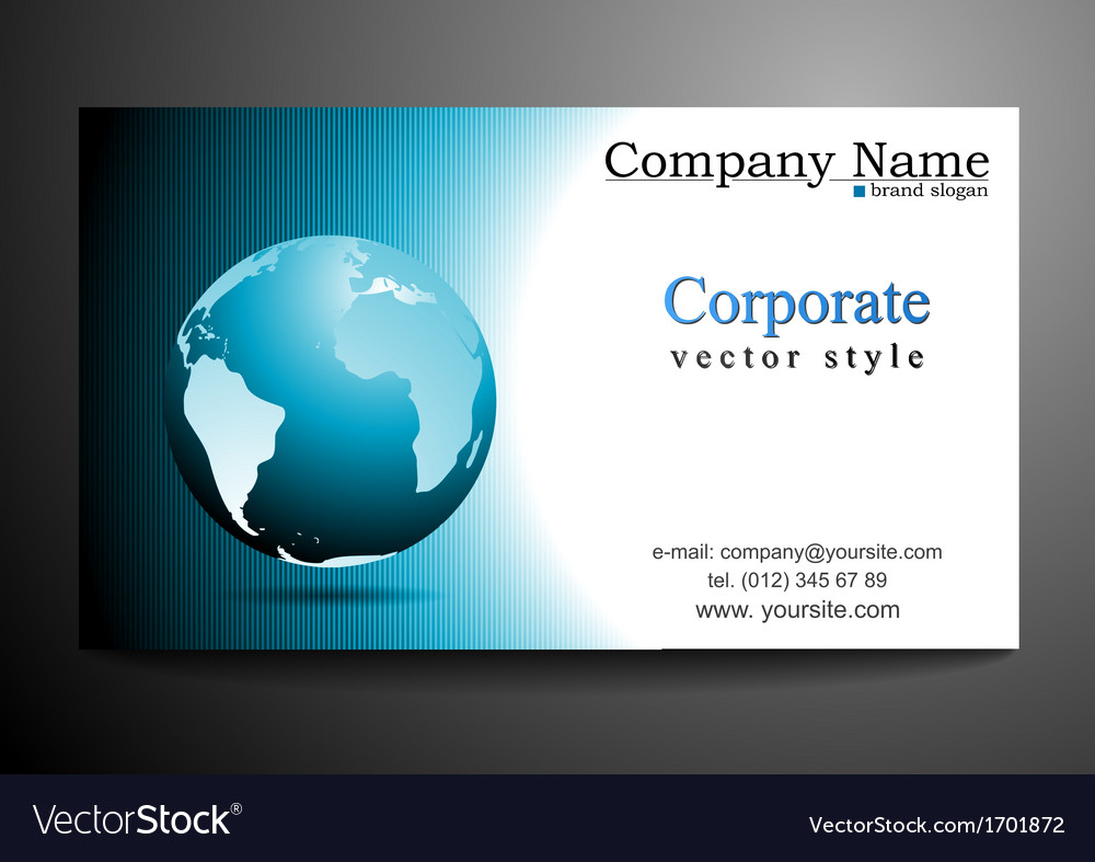Business card design with globe Royalty Free Vector Image