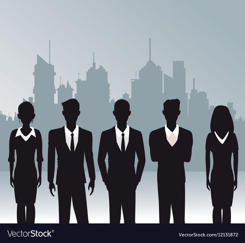Business people teamwork urban background vector image