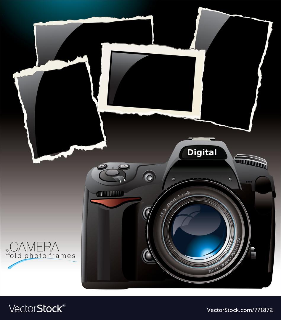 Camera and old photo frames Royalty Free Vector Image