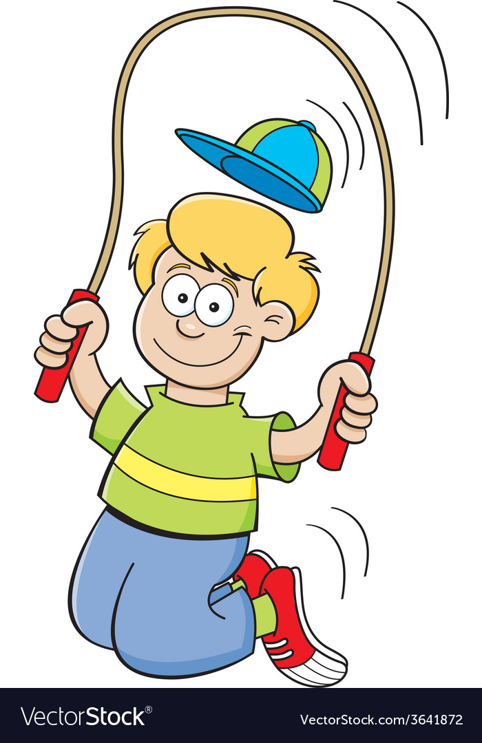 Cartoon Boy Using A Jump Rope Royalty Free Vector Image