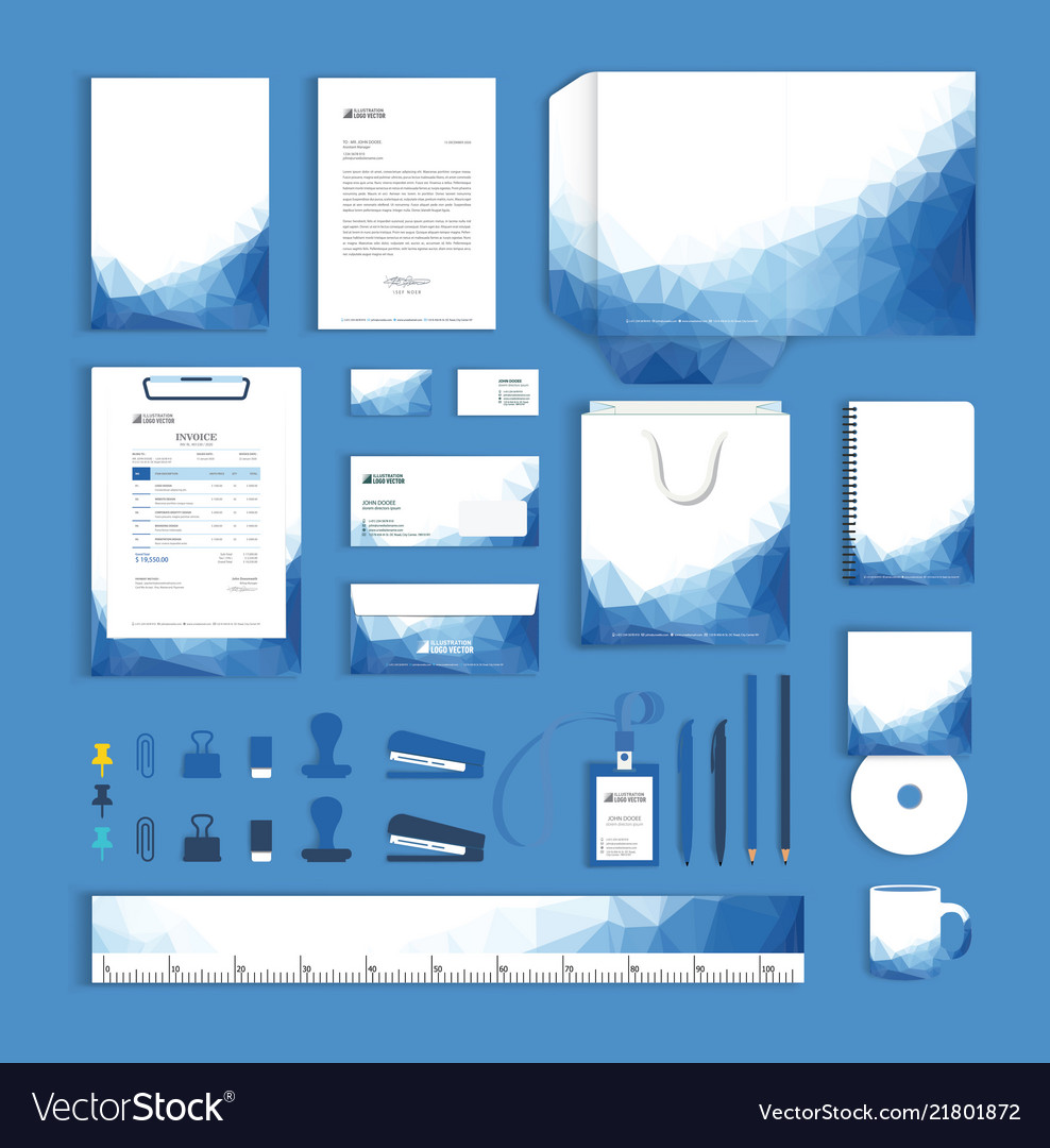 Corporate identity design template with blue