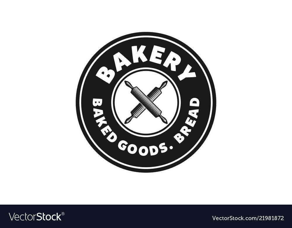 Crossed rolling pin vintage bakery logo designs