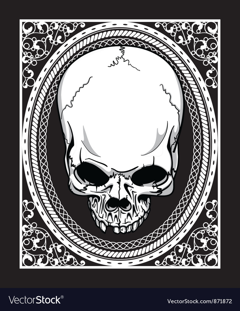 Frame with skull retro t-shirt design Royalty Free Vector