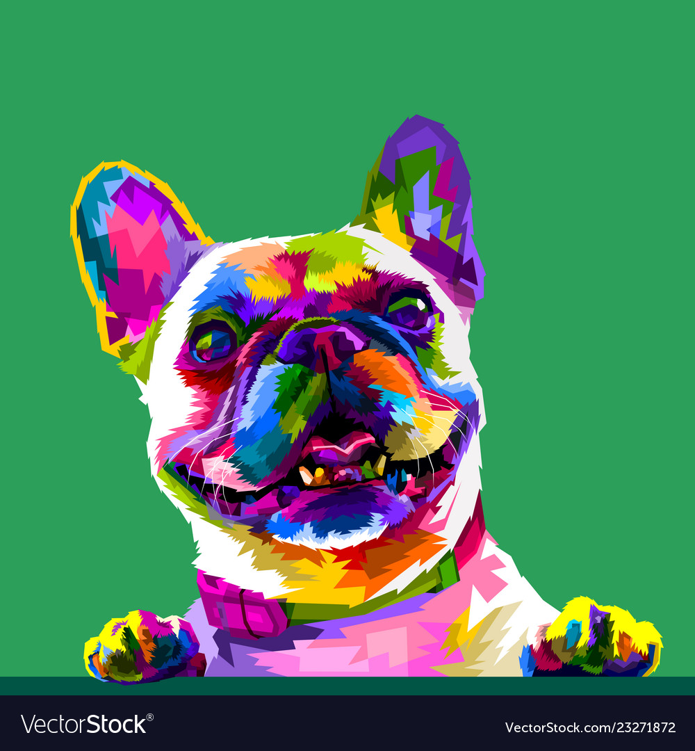 - French Bulldog In Pop Art Colors Isolated On Vector Image