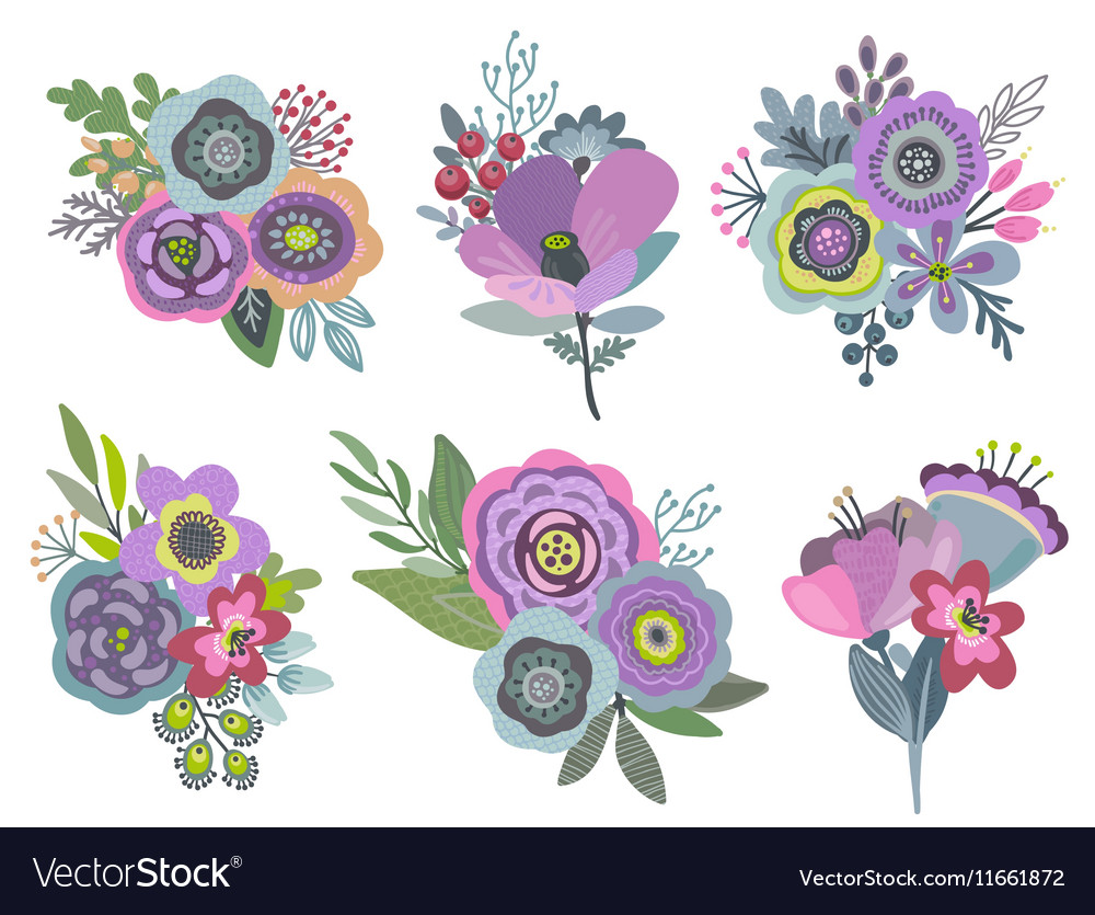 Graphic set with beautiful floral bouquets