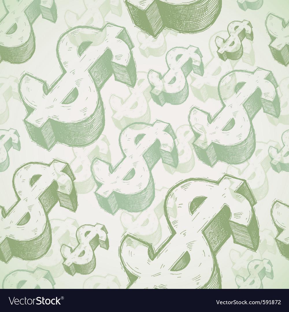 Hand drawn dollar signs vector image
