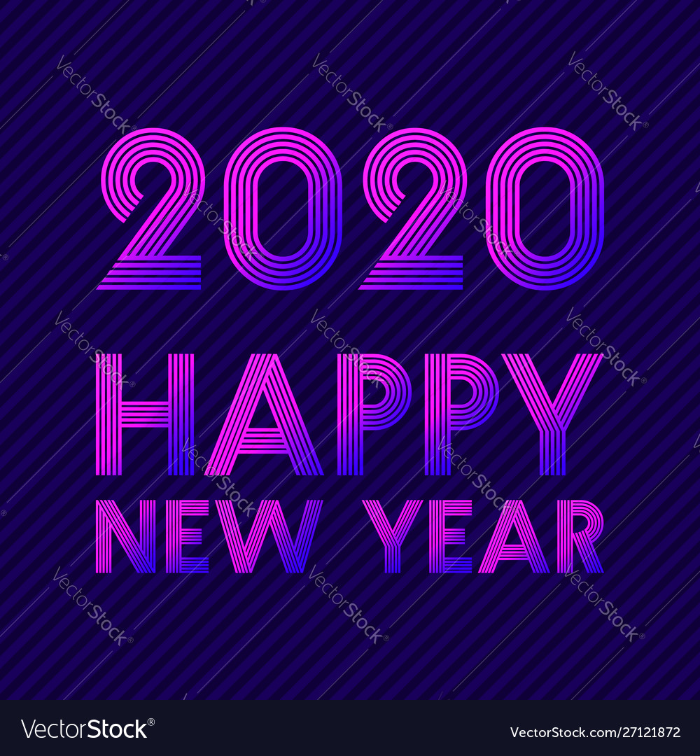 Happy new year 2020 background retro line design