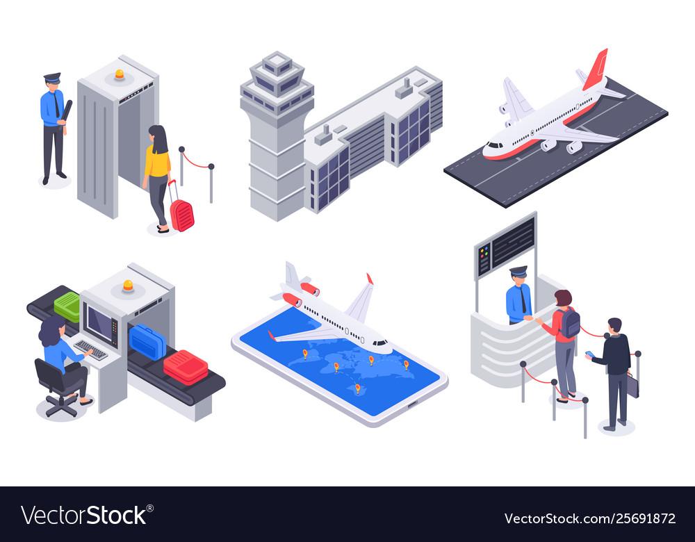 Isometric airport passengers tourism flight