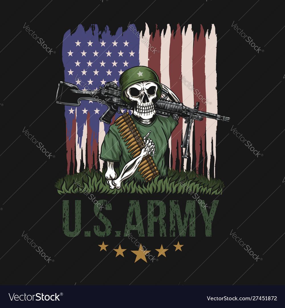 Machine gun skull american army