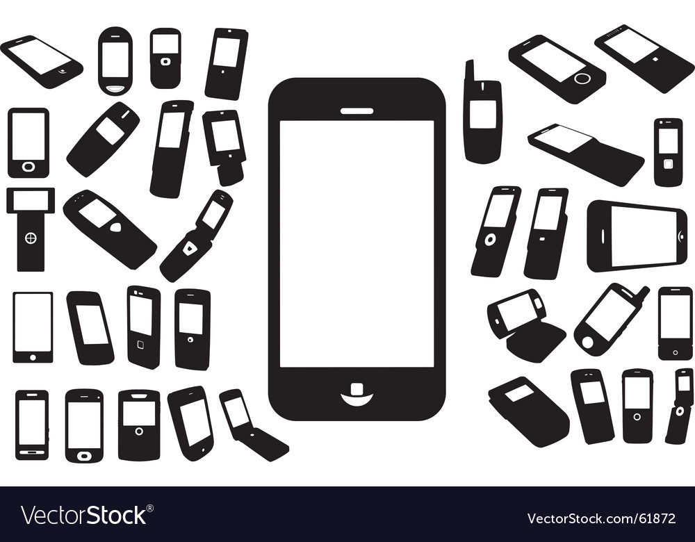 Mobile silhouettes vector image