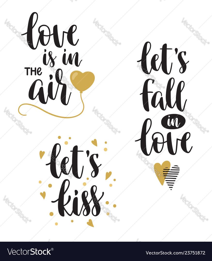 Romantic calligraphy phrases set