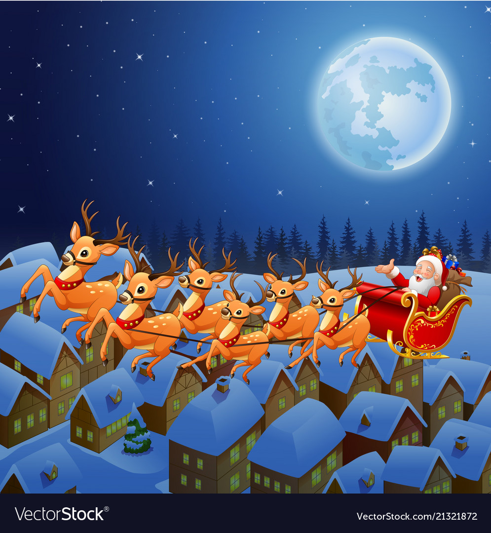 Top Pictures Of Santa Claus And His Reindeer - hd wallpaper