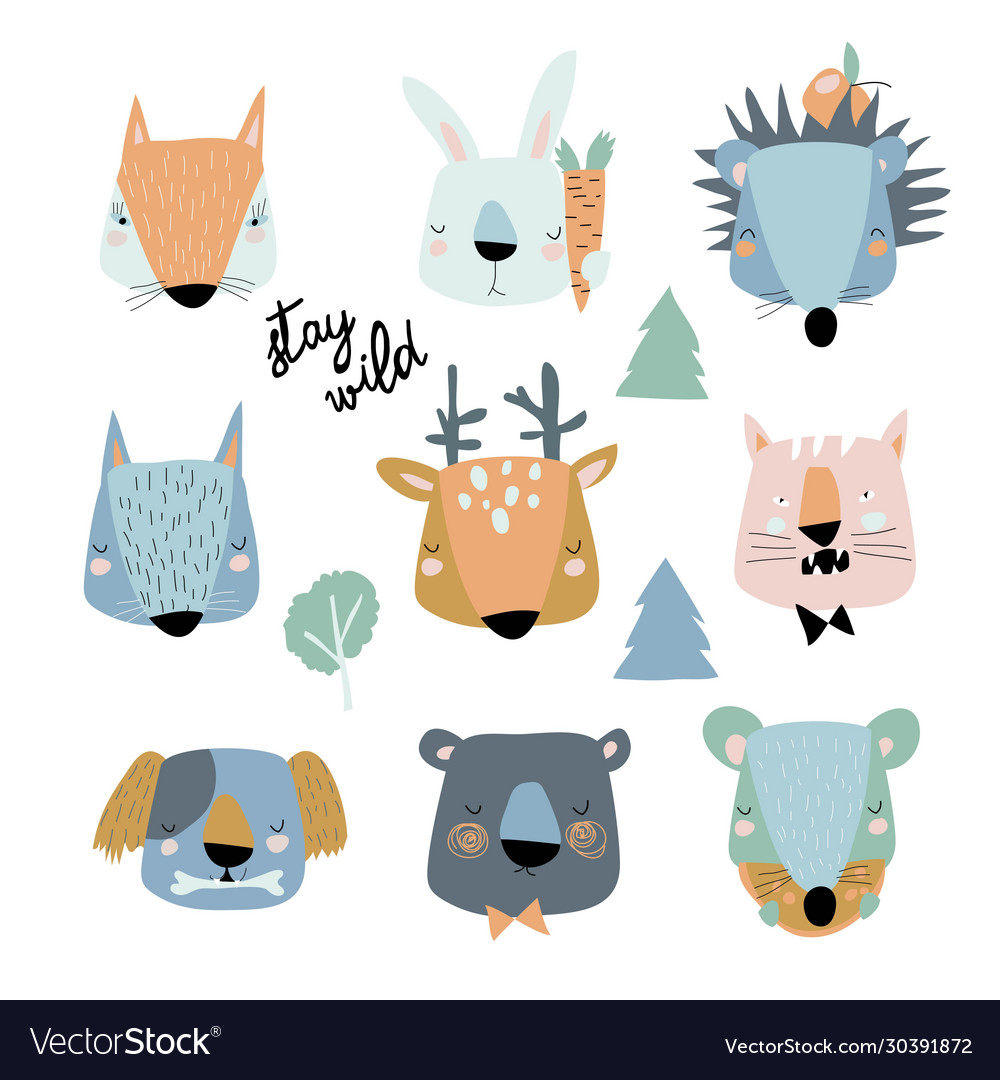 Set cute animals heads on white background