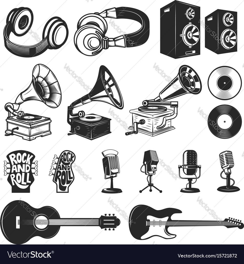Set of design elements for music labels vector image
