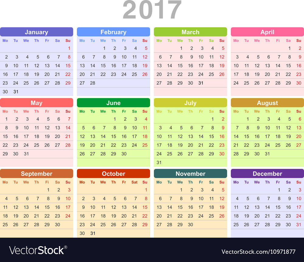 2017 year annual calendar Monday first English