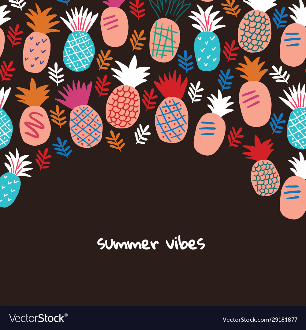 Banner with colorful abstract pineapples on black