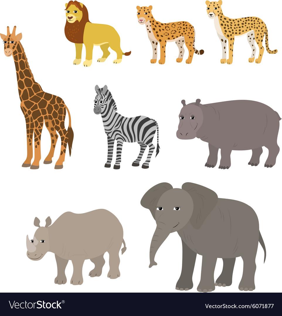 Cartoon set lion leopard cheetah giraffe zebra