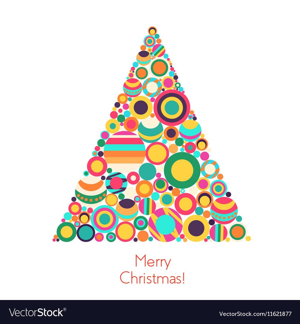 Christmas tree with flat geometrical circle