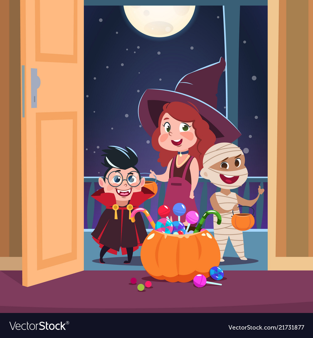 Halloween trick or treat background kids in