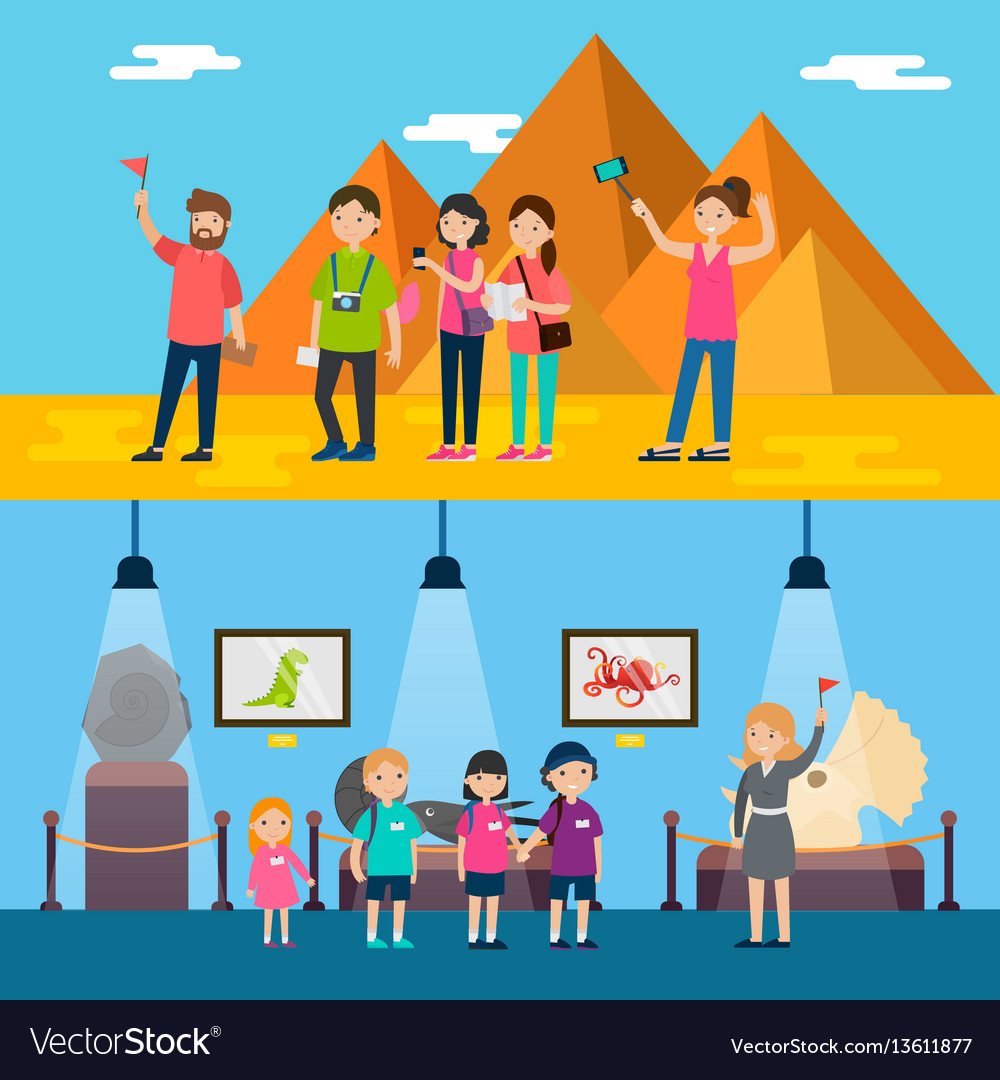 People on excursion horizontal banners vector image