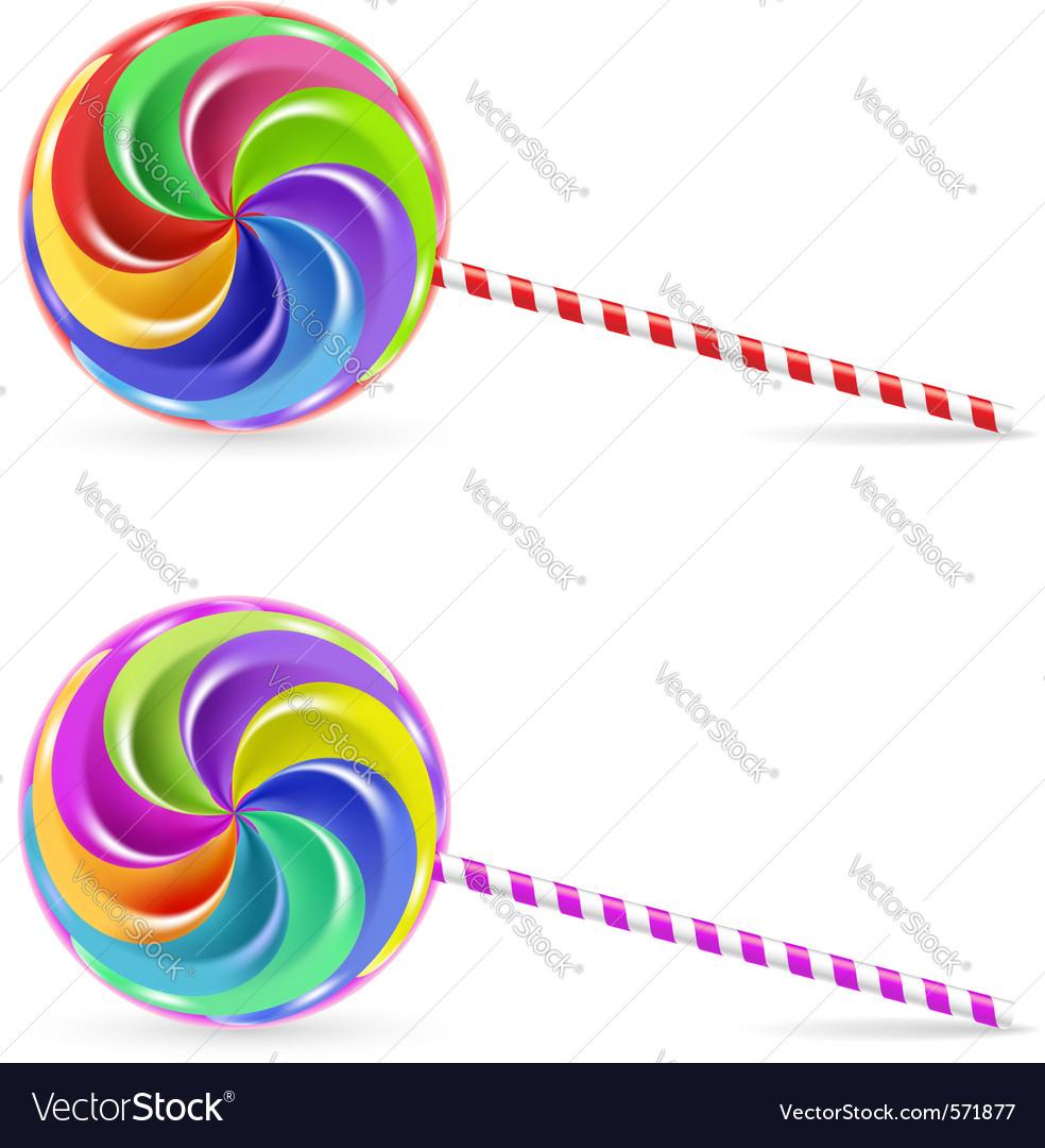 Rainbow lollipop vector image
