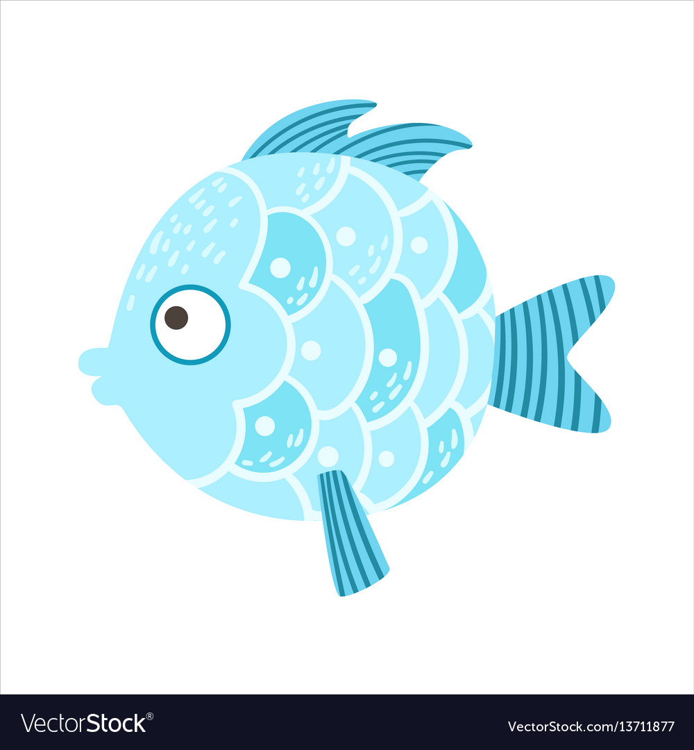 Round Blue Scaled Fantastic Colorful Aquarium Fish