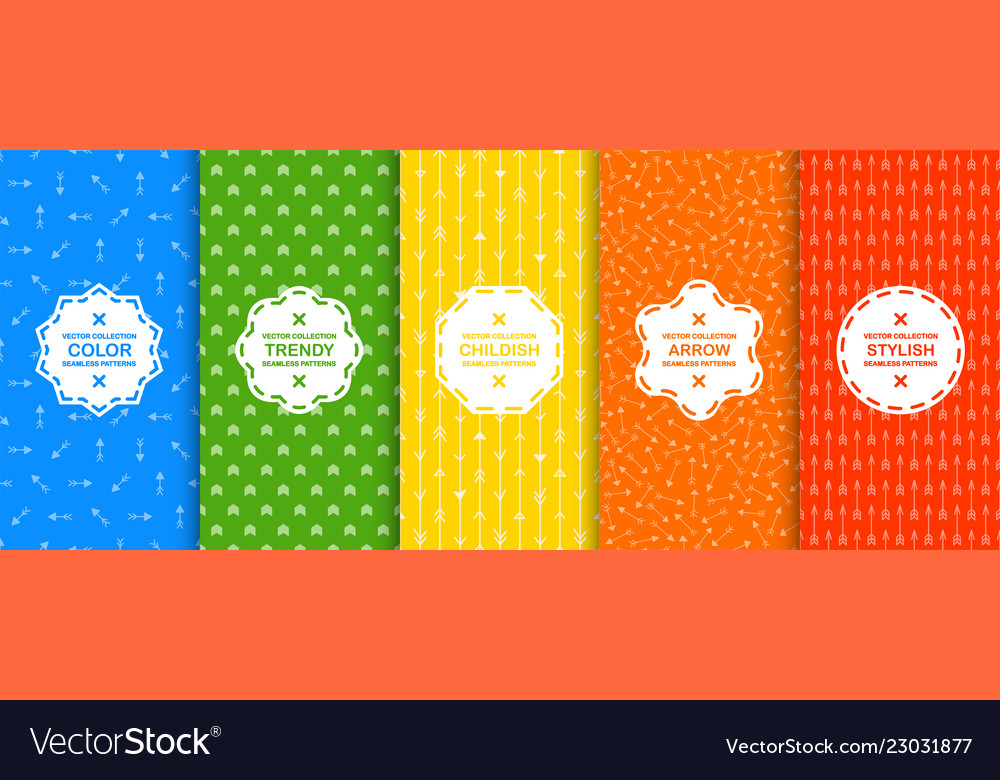 Set colorful seamless geometric arrow patterns vector
