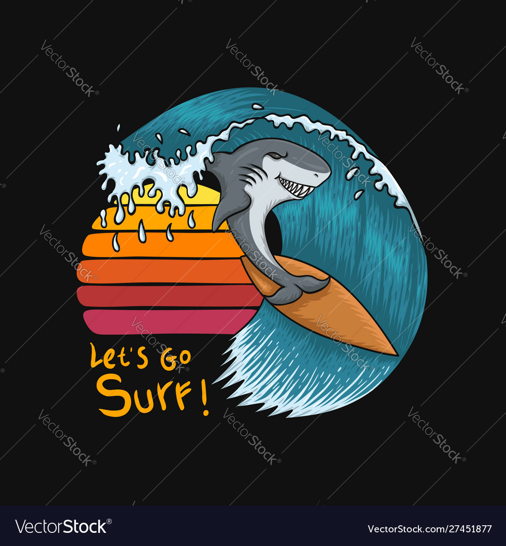 Shark surfing sunset