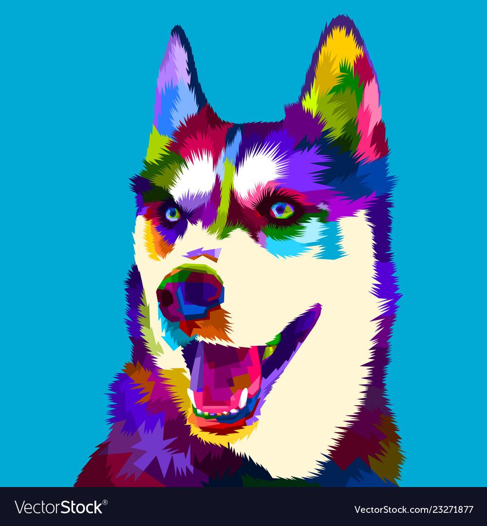 Siberian Husky Dog In Pop Art Style