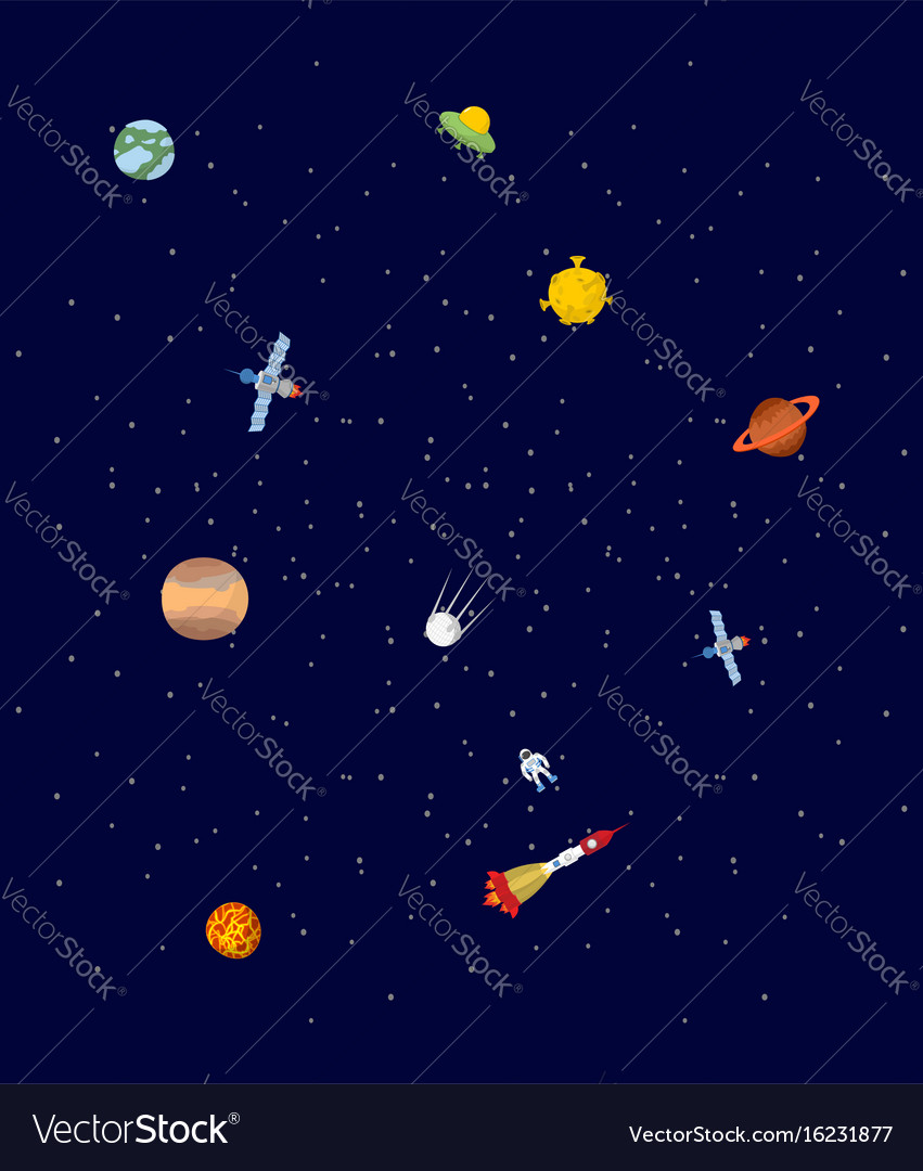 Space pplanets and spaceships ufo and astronaut vector image